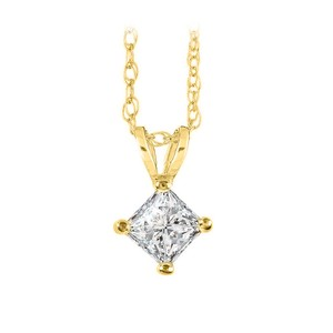 Marco B Diamond Solitaire Pendant in 14K Yellow Gold Free Chain