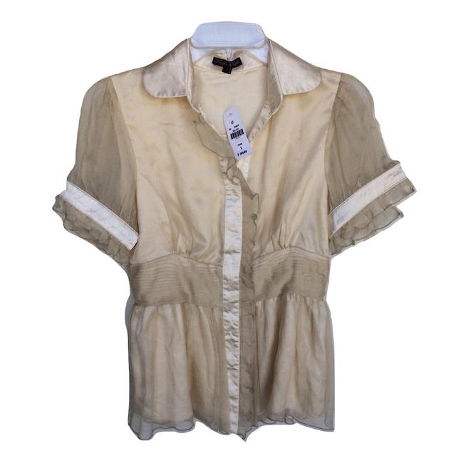 Item - Beige Pure Silk 1940's Style Blouse Size 4 (S)