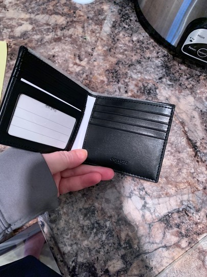 Coach NWT Coach F66551 ID Billfold Wallet in Signature Canvas Charcoal/Black Image 1