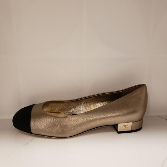 Chanel Loafers Moccasin Cc Gold/Black Flats Image 1