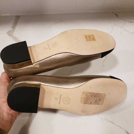 Chanel Loafers Moccasin Cc Gold/Black Flats Image 4