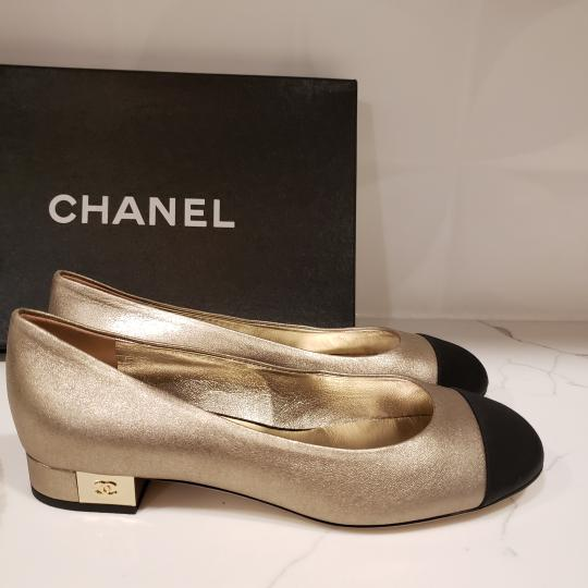 Chanel Loafers Moccasin Cc Gold/Black Flats Image 5