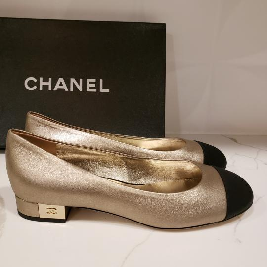 Chanel Loafers Moccasin Cc Gold/Black Flats Image 7