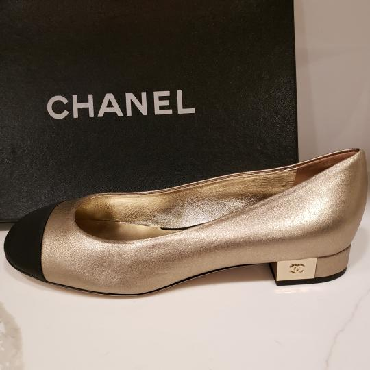 Chanel Loafers Moccasin Cc Gold/Black Flats Image 9