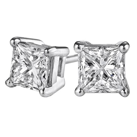 Marco B 0.50 Carat Real Diamond Stud Earrings 14K White Gold Image 0