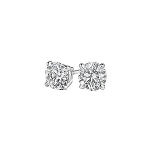 Marco B Round Natural Diamond Stud Earrings Screw Back in Gold