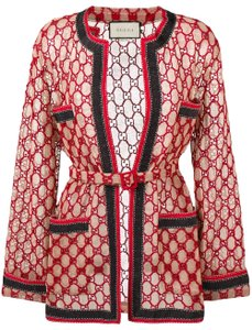 Gucci Logo Embroidered Belted Coat Red Navy Blue Jacket