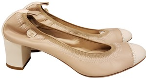 Chanel Cap Toe 12p Stretch Nude Beige/Ecru Cream Pumps