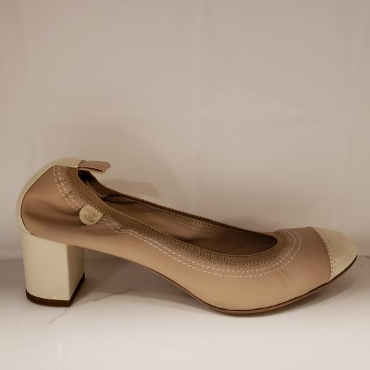 Chanel Cap Toe 12p Stretch Nude Beige/Ecru Cream Pumps Image 1