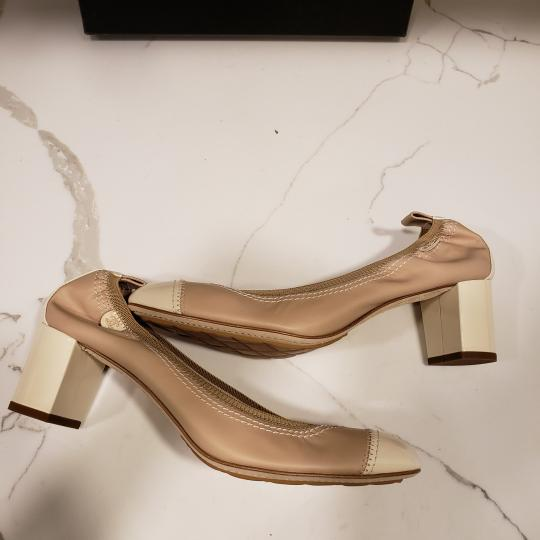 Chanel Cap Toe 12p Stretch Nude Beige/Ecru Cream Pumps Image 4