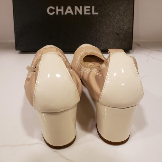 Chanel Cap Toe 12p Stretch Nude Beige/Ecru Cream Pumps Image 5