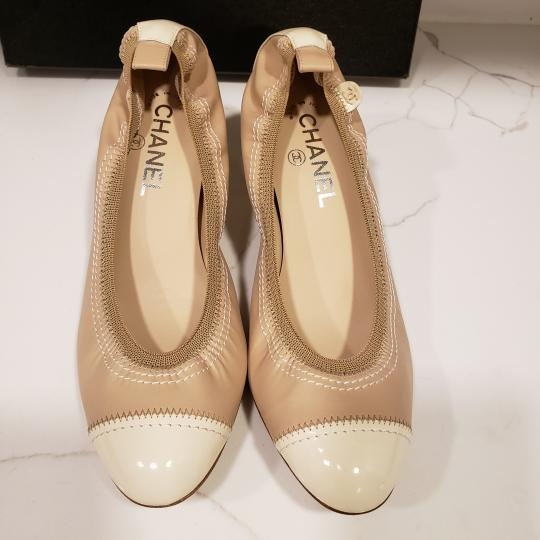 Chanel Cap Toe 12p Stretch Nude Beige/Ecru Cream Pumps Image 6