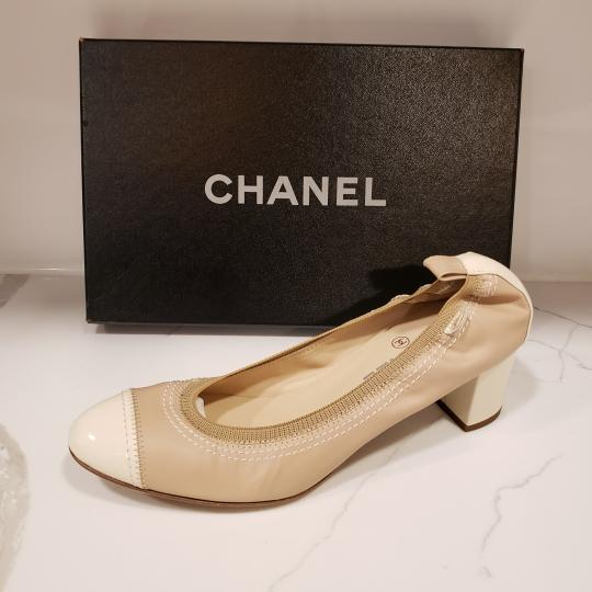 Chanel Cap Toe 12p Stretch Nude Beige/Ecru Cream Pumps Image 7