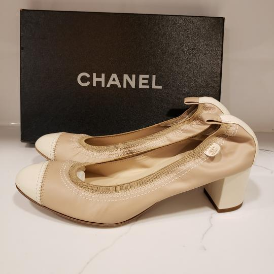 Chanel Cap Toe 12p Stretch Nude Beige/Ecru Cream Pumps Image 8