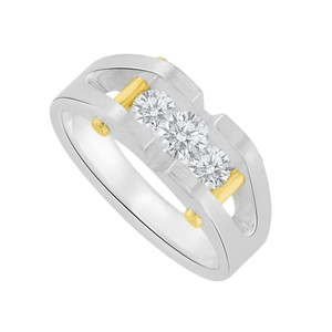Marco B Channel Set Cubic Zirconia 14K Two Tone Gold Mens Ring