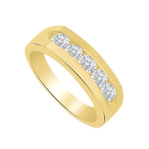 Marco B Channel Set Cubic Zirconia 14K Yellow Gold Mens Ring