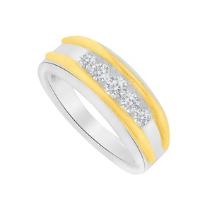 Marco B Channel Set Natural Diamonds Two Tone Gold Mens Ring