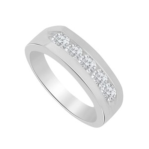 Marco B Channel Set Cubic Zirconia 14K White Gold Mens Ring
