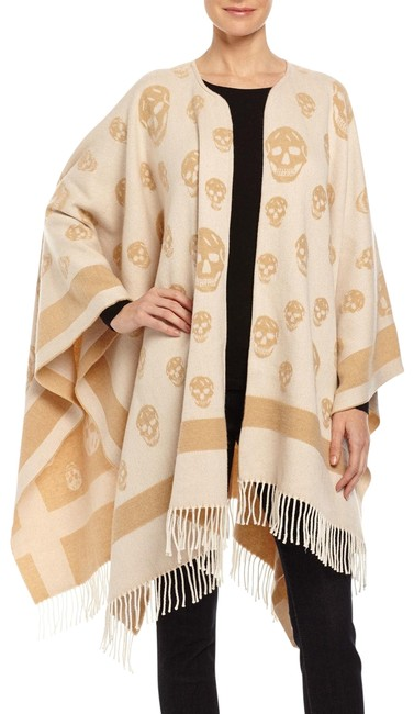 Item - Brown Big Scull Cashmere Wool Poncho/Cape Size OS (one size)