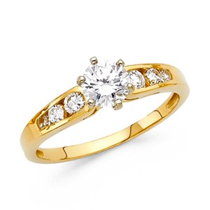 Top Gold & Diamond Jewelry 4-Prong 1-CT Round-Cut Tapered with Sides Stones CZ Engagement Ring