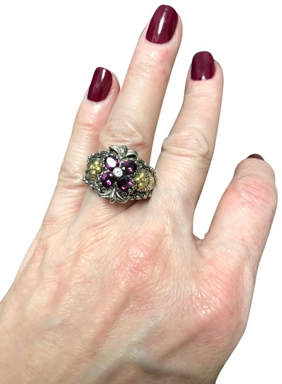 Barbara Bixby Garnet and white topaz Flower sterling and 18 k gold ring Image 0
