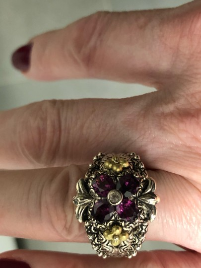 Barbara Bixby Garnet and white topaz Flower sterling and 18 k gold ring Image 1