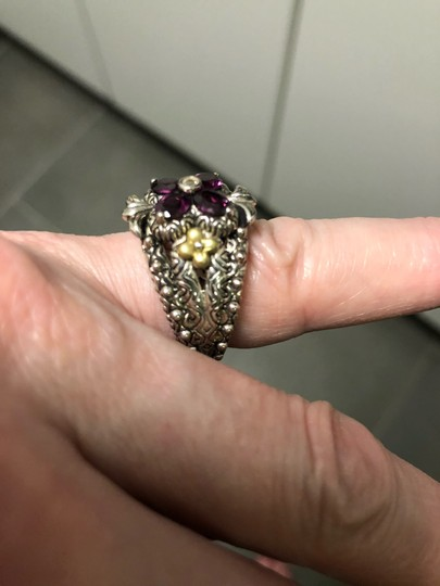 Barbara Bixby Garnet and white topaz Flower sterling and 18 k gold ring Image 3