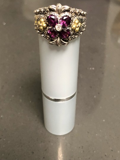 Barbara Bixby Garnet and white topaz Flower sterling and 18 k gold ring Image 4