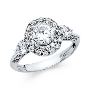 Top Gold & Diamond Jewelry 3-Stone Halo Round-Cut Knife-Edge CZ Engagement Ring in 14K White Gold