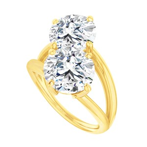 Marco B April Birthstone CZ Two Stone Bypass Ring Yellow Gold