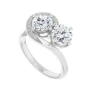 Marco B Unique Design Accented CZs Two Stone Ring White Gold