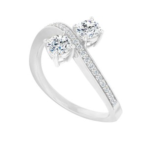 Marco B Cubic Zirconia Engagement Ring in 14K White Gold