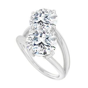 Marco B April Birthstone CZ Two Stone Bypass Ring White Gold