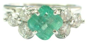 custom Natural Colombian Green Emerald & Diamond Platinum & White Gold Ring 1