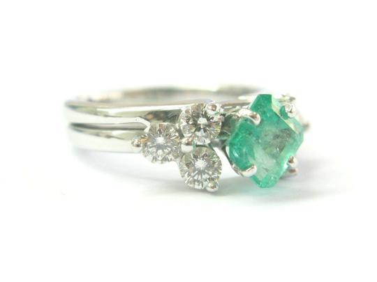custom Natural Colombian Green Emerald & Diamond Platinum & White Gold Ring 1 Image 1