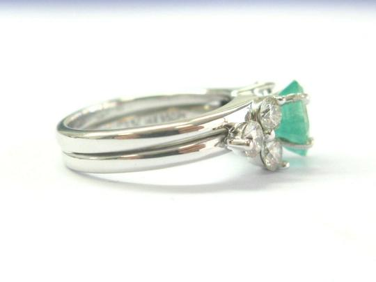 custom Natural Colombian Green Emerald & Diamond Platinum & White Gold Ring 1 Image 2