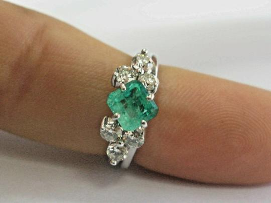 custom Natural Colombian Green Emerald & Diamond Platinum & White Gold Ring 1 Image 5