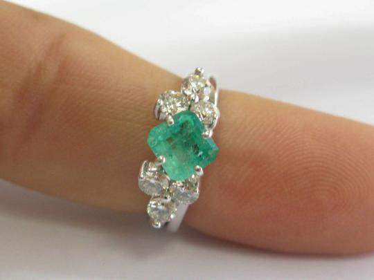 custom Natural Colombian Green Emerald & Diamond Platinum & White Gold Ring 1 Image 6