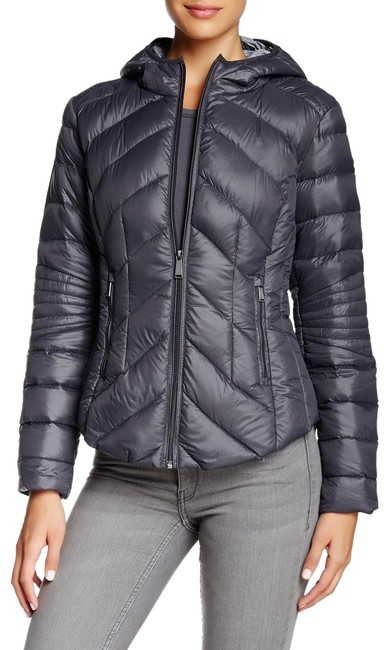 Item - Gray Quilted Packable Duck Puffer Jacket Coat Size 8 (M)