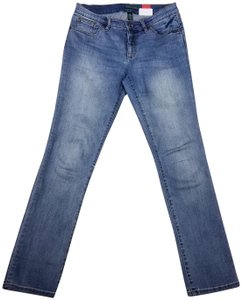 Lauren Jeans Company Ralph Denim Vintage Straight Leg Jeans-Distressed