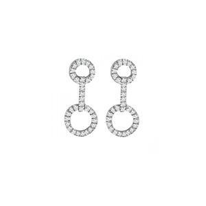 Marco B Cubic Zirconia White Gold Fancy Earrings with Two Loops