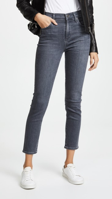 Citizens of Humanity High Waisted Denim Cropped Skinny Jeans-Medium Wash Image 6