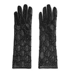 Gucci logo embroidered tulle mesh gloves