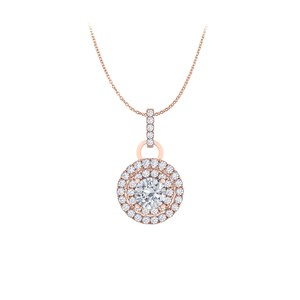 Marco B Cubic Zirconia Double Halo Pendant in 14K Rose Gold