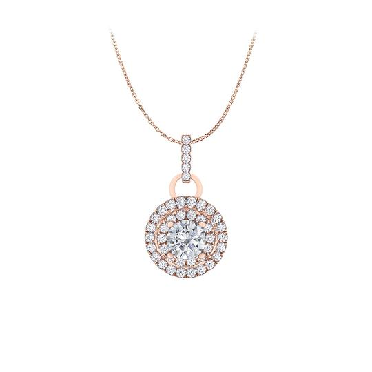 Preload https://img-static.tradesy.com/item/25152359/white-cubic-zirconia-double-halo-pendant-in-14k-rose-gold-necklace-0-0-540-540.jpg