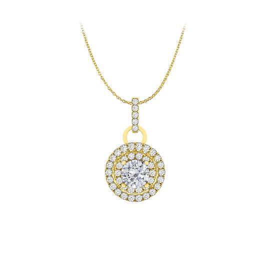 Preload https://img-static.tradesy.com/item/25152364/white-cubic-zirconia-double-halo-pendant-in-14k-yellow-gold-necklace-0-0-540-540.jpg