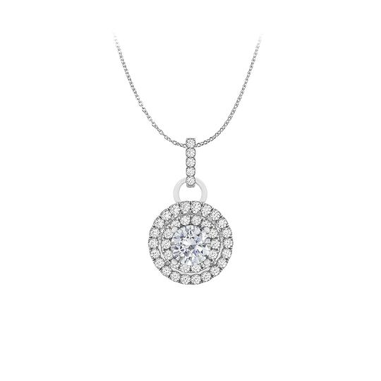 Preload https://img-static.tradesy.com/item/25152367/white-dazzling-100-carat-round-halo-cz-pendant-gold-necklace-0-0-540-540.jpg