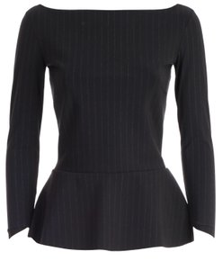 La Petite Robe di Chiara Boni Sophisticated Niky Top Black with white pin stripes