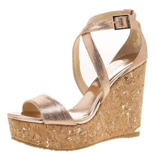 Jimmy Choo Crisscross Strap Metallic Sandals Image 1