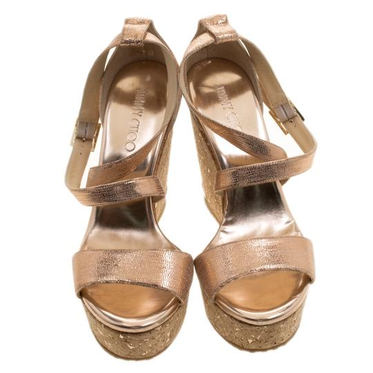 Jimmy Choo Crisscross Strap Metallic Sandals Image 2